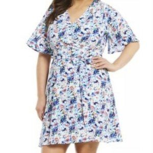 Gibson Latimer Floral Print Dress With Tie Belt
